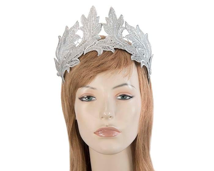 Silver lace crown fascinator by Max Alexander Fascinators.com.au