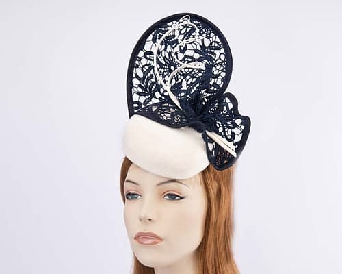 Cream pillbox navy lace for winter racing F568CN Fascinators.com.au
