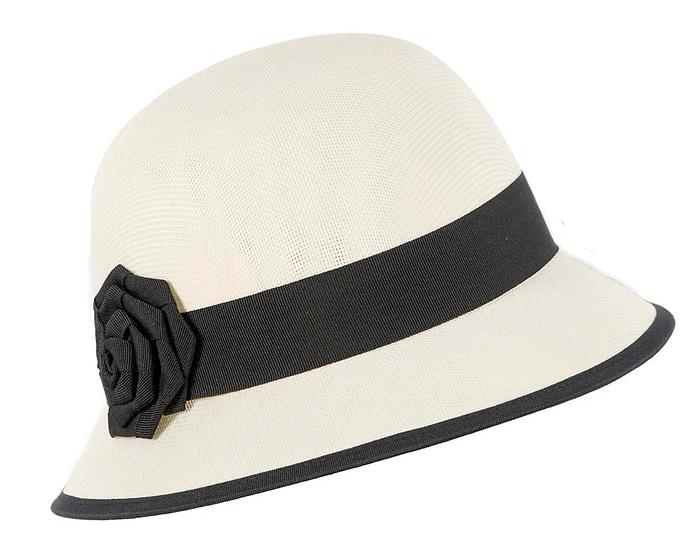 Cream & black spring racing cloche hat Fascinators.com.au