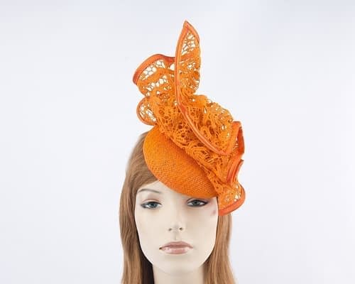 Orange pillbox fascinator for races by Fillies Collection S166O Fascinators.com.au