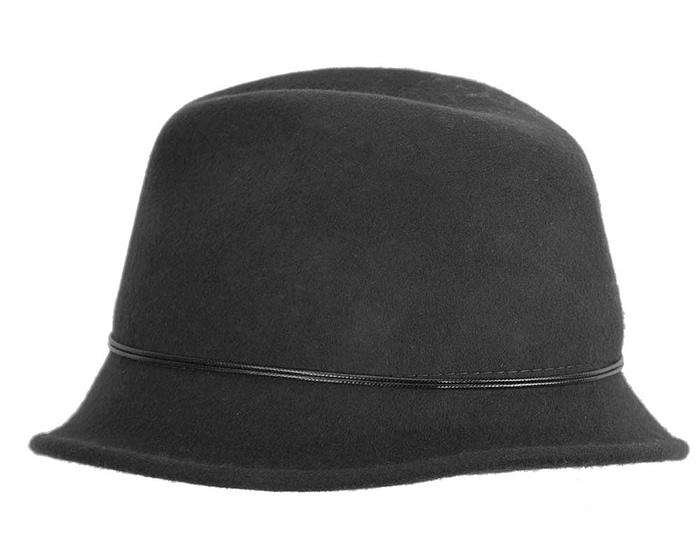Black ladies felt trilby hat by Max Alexander Fascinators.com.au