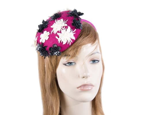 Small round fuchsia winter pillbox Max Alexander J296F Fascinators.com.au