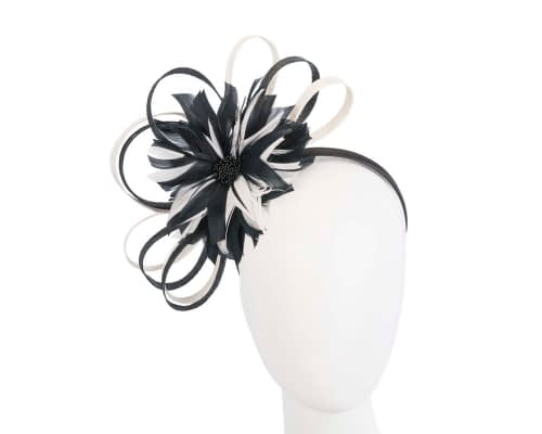 Black & Cream feather flower racing fascinator by Max Alexander Fascinators.com.au