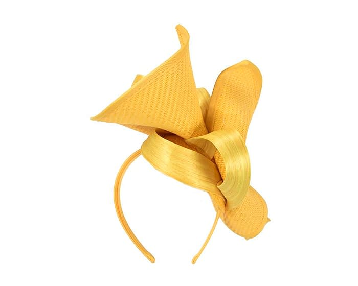 Yellow designers racing fascinator with bow by Fillies Collection Fascinators.com.au