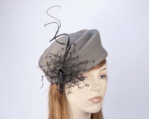 Grey Jackie Onassis style felt pillbox F572G Fascinators.com.au