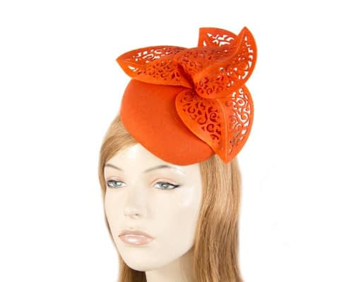 Orange pillbox with laser cut trim Fascinators.com.au