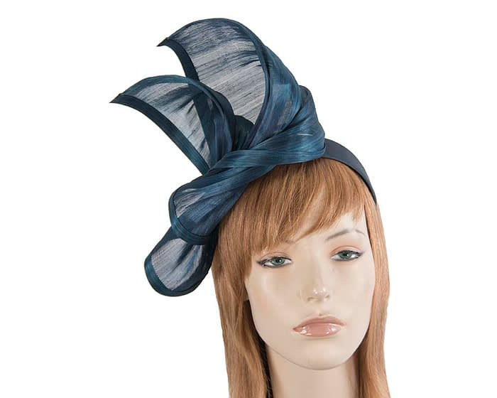 Twisted marine blue silk abaca fascinator by Fillies Collection Fascinators.com.au