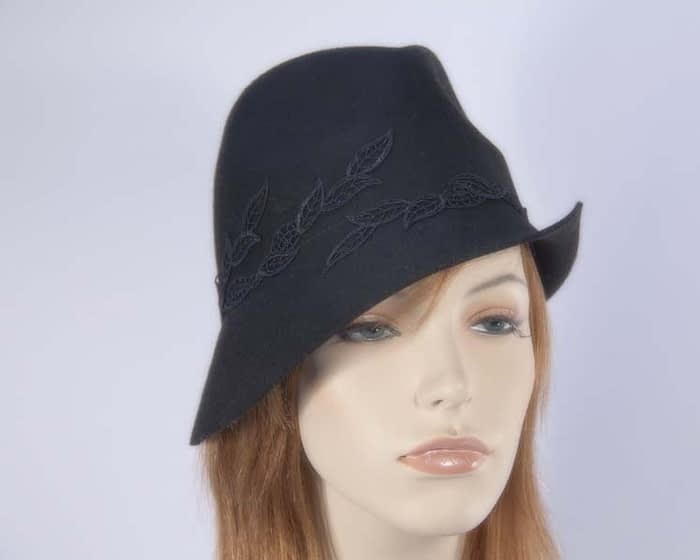 Black felt trilby hat J272B Fascinators.com.au