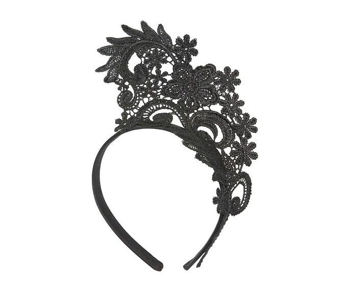 Black Australian Made lace crown fascinator by Max Alexander Fascinators.com.au