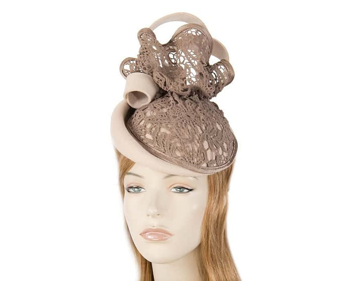 Nude felt fascinator with tan lace F580NU Fascinators.com.au