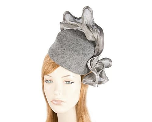 Tall grey marle felt fascinator Fascinators.com.au