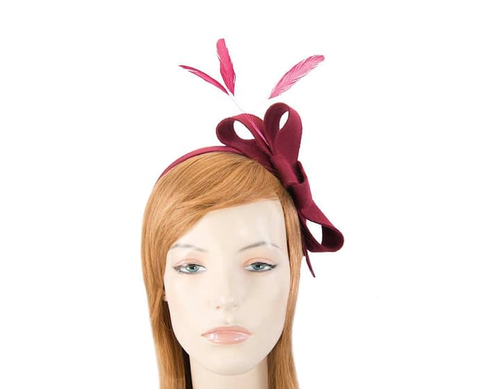 Burgundy wine felt bow racing fascinator Fascinators.com.au