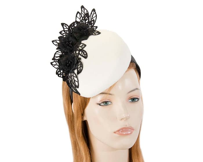 Cream & black lace winter pillbox fascinator Fascinators.com.au F638 cream black