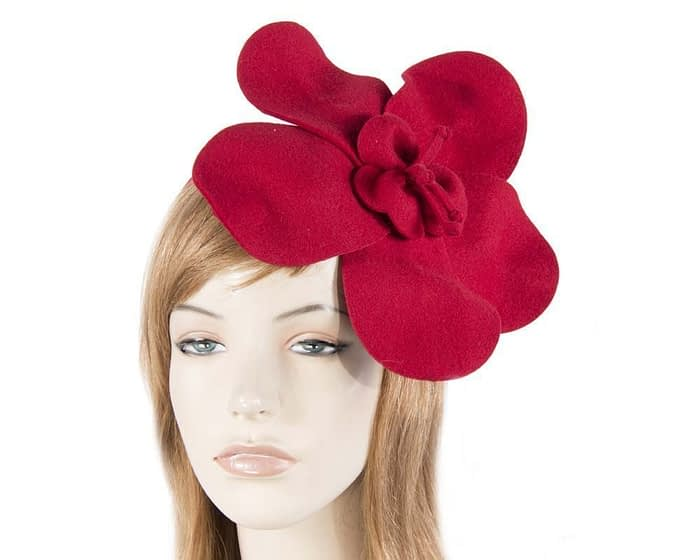 Red felt flower fascinator Fascinators.com.au