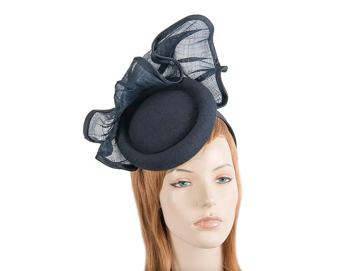 Tall navy winter fascinator by Fillies Collection Fascinators.com.au