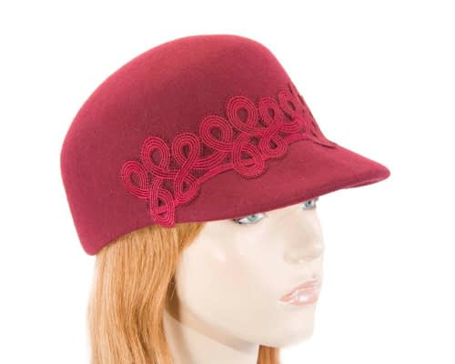 Burgundy wine felt fashion cap with lace Fascinators.com.au