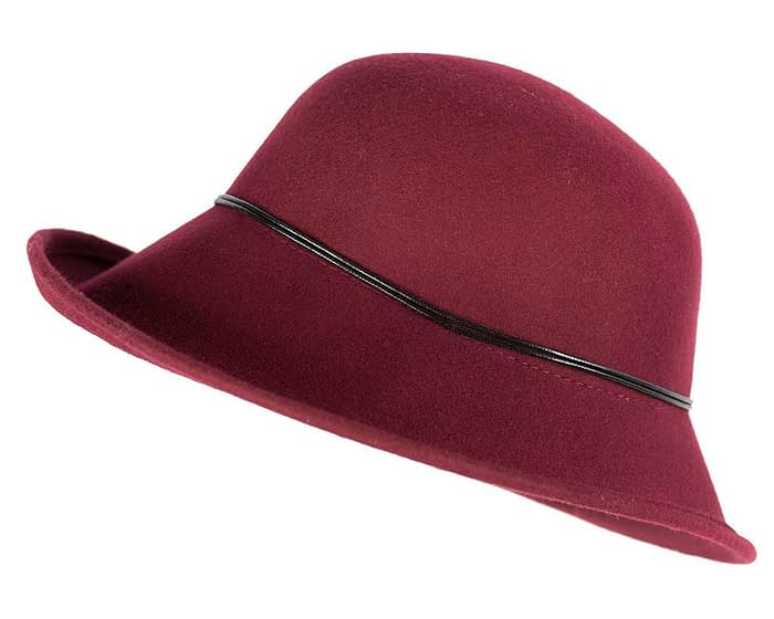 Large burgundy ladies felt hat Fascinators.com.au