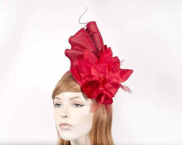 Red racing fascinator with flower by Fillies Collection Fascinators.com.au