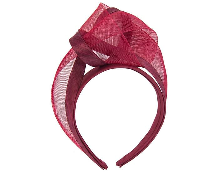 Burgundy wine turban headband by Fillies Collection Fascinators.com.au