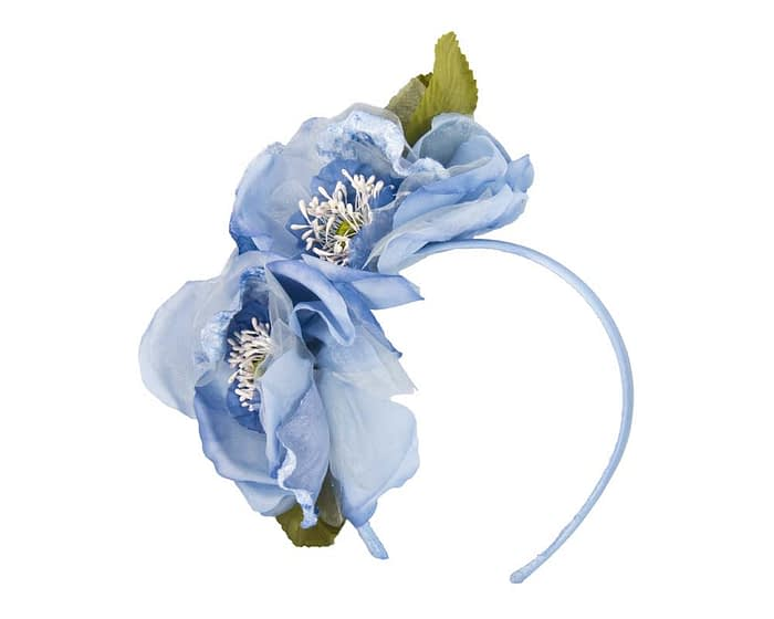 Light blue flowers on headband Fascinators.com.au