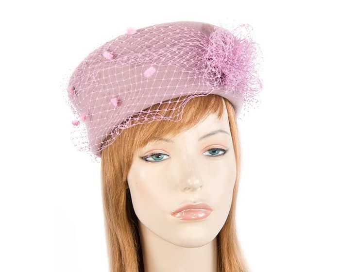 Large dusty pink felt winter beret Fascinators.com.au