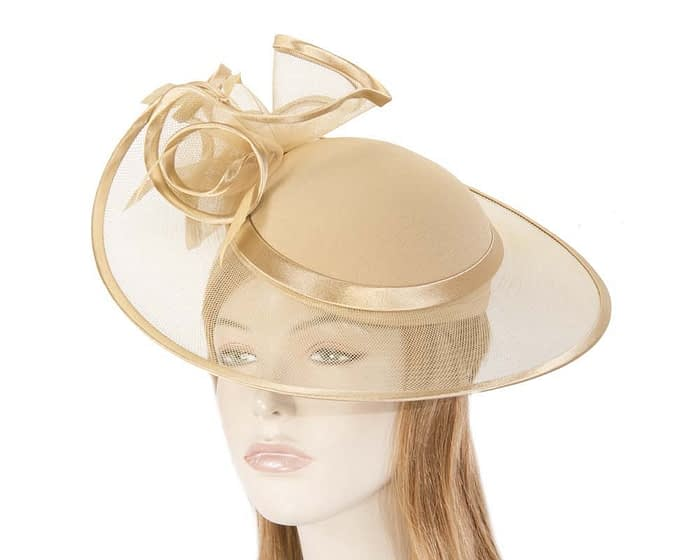 Gold fashion hat H923G Fascinators.com.au
