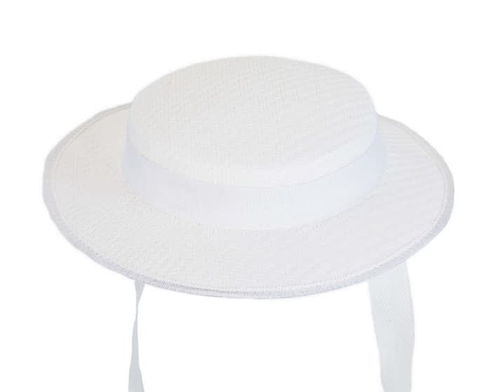White mini boater hat by Max Alexander Fascinators.com.au