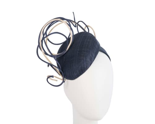 Bespoke navy & nude wire loops pillbox racing fascinator by Fillies Collection Fascinators.com.au