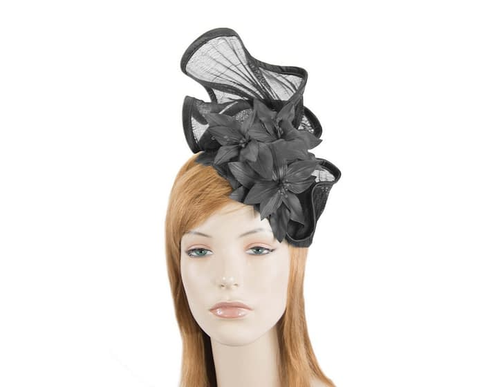 Black fascinator with leather flowers by Fillies Collection Fascinators.com.au