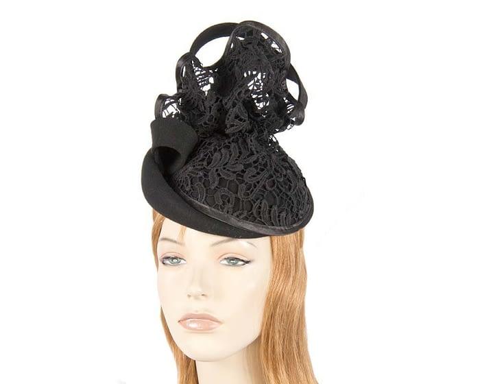 Black felt fascinator with lace F580B Fascinators.com.au