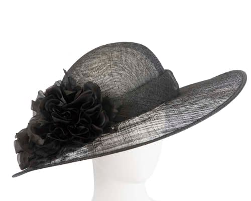 Wide brim black racing hat with flower by Max Alexander Fascinators.com.au SP461 black