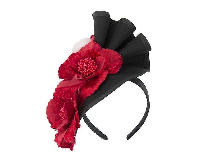 Black Fillies Collection fascinator with red flowers F591BR Fascinators.com.au