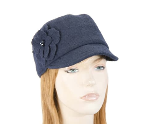 Soft navy ladies winter cap Fascinators.com.au