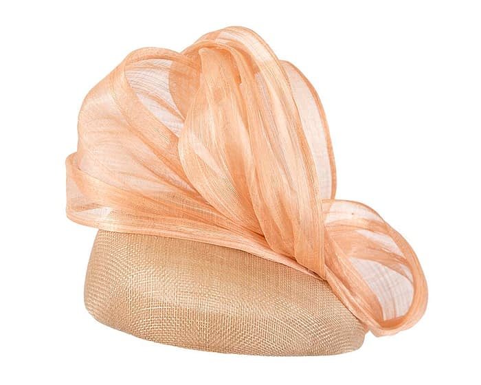 Nude pillbox silk abaca bow Fascinators.com.au