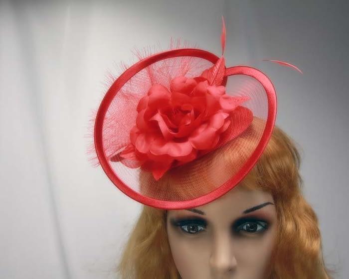 Red cocktail hats K4807R Fascinators.com.au