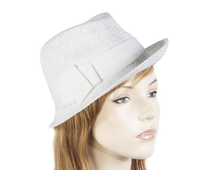 White ladies trilby hat Fascinators.com.au