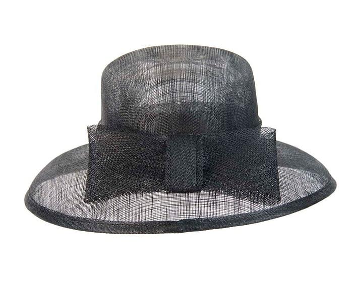 Black wide brim sinamay hat with bow Fascinators.com.au