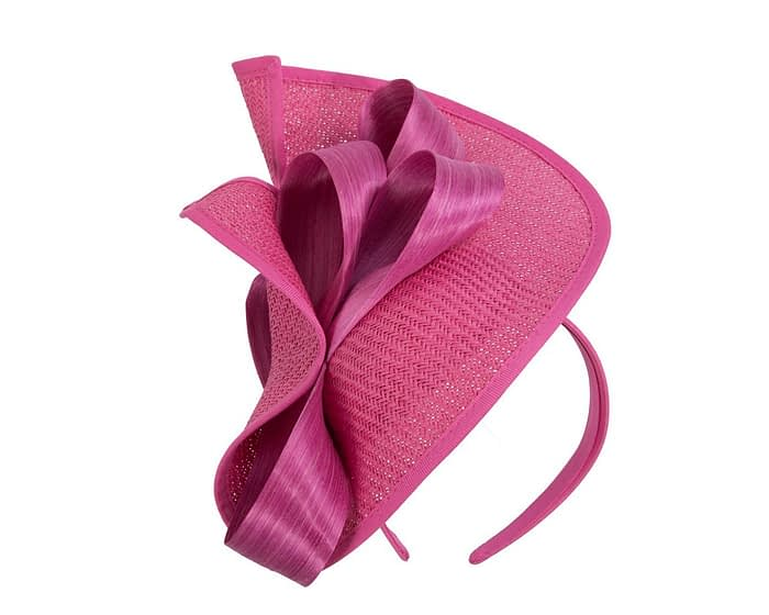 Fuchsia designers racing fascinator with bow by Fillies Collection Fascinators.com.au