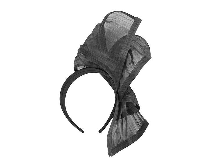 Twisted black silk abaca fascinator Fascinators.com.au