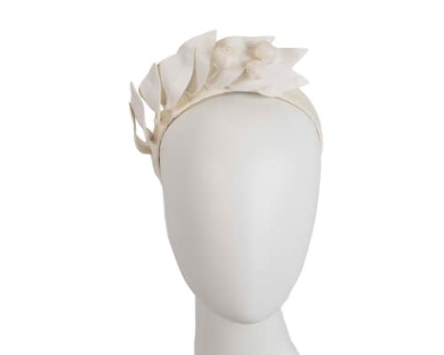 Cream leather flower racing fascinator by Max Alexander Fascinators.com.au