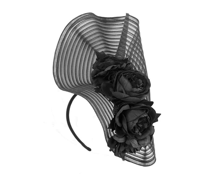 Large black fascinator with roses by Fillies Collection Fascinators.com.au