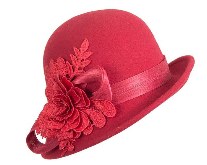Red ladies felt cloche hat by Fillies Collection Fascinators.com.au