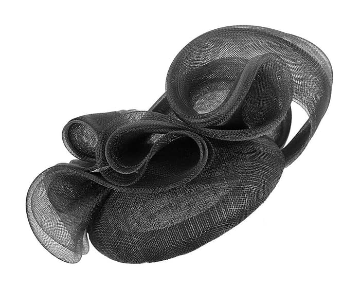 Black pillbox racing fascinator with wavy trim by Fillies Collection Fascinators.com.au