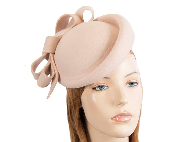 Nude winter felt fascinator hat by Fillies Collection Fascinators.com.au