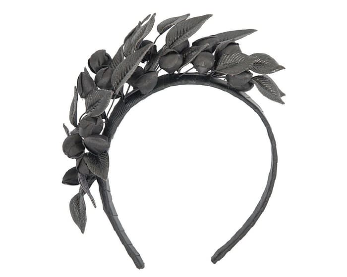 Black leather flower racing fascinator by Max Alexander Fascinators.com.au