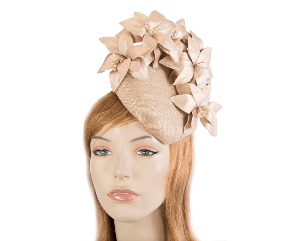 Gold leather flowers pillbox by Fillies Collection Fascinators.com.au S224 gold elastic