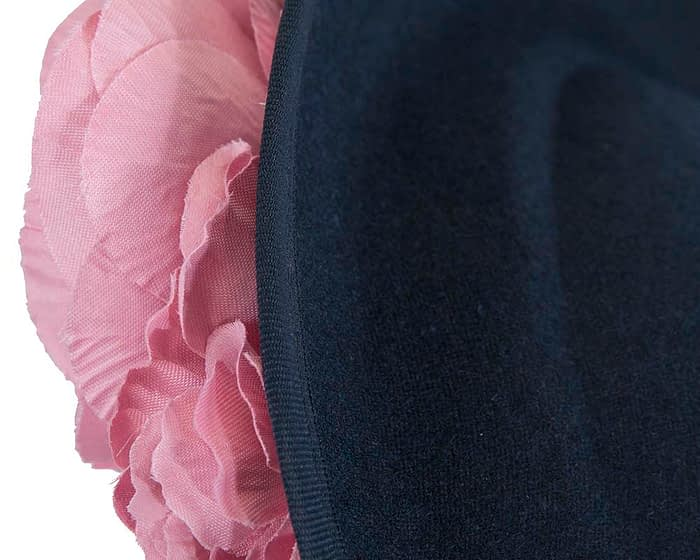 Large navy & pink fascinators with flowers by Fillies Collection (Copy) Fascinators.com.au