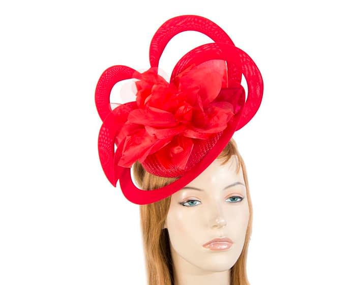 Unusual Australian made red racing fascinator by Fillies Collection S155R Fascinators.com.au