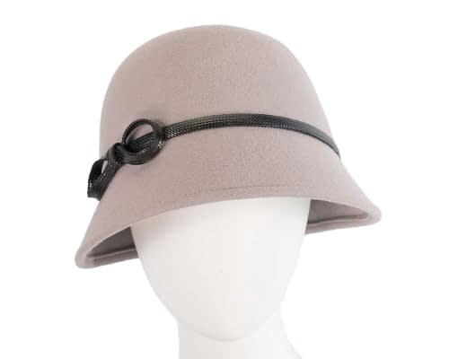 Grey felt bucket hat by Max Alexander Fascinators.com.au J369 grey