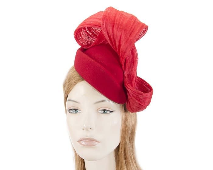 Red felt stewardess pillbox with silk abaca bow Fascinators.com.au